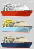 Μεταφορείς αερίου, LNG βυτιοφόρα, σύνολο, διανυσματική απεικόνιση Στοκ Εικόνες