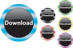 Μεταφορτώστε το μπλε κουμπιών Στοκ Εικόνες