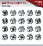 Μεταλλικά κουμπιά - Διαδίκτυο Στοκ Εικόνες