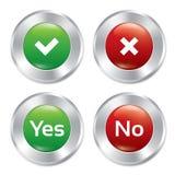 Μεταλλικός ναι, κανένα σύνολο προτύπων κουμπιών. Στοκ εικόνες με δικαίωμα ελεύθερης χρήσης