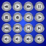 Μεταλλικό κουμπί κύκλων εικονιδίων συσκευών αναπαραγωγής πολυμέσων ακουστικό τηλεοπτικό Στοκ Εικόνες