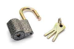 Μεταλλικό λουκέτο με τρία κλειδιά Στοκ εικόνες με δικαίωμα ελεύθερης χρήσης