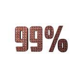 Μεταλλικό τρισδιάστατο κείμενο 99% διανυσματική απεικόνιση