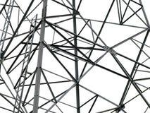 Μετα κινηματογράφηση σε πρώτο πλάνο ηλεκτρικής ενέργειας του ηλεκτρικού πύργου πόλων στο άσπρο υπόβαθρο Στοκ φωτογραφία με δικαίωμα ελεύθερης χρήσης