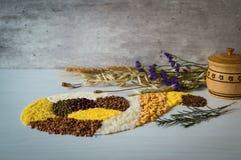 Μεταλλοφόρο κοίτασμα των σιταριών και των δημητριακών με μορφή κέρατου της αφθονίας Στοκ Εικόνες