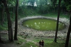 μετεωρίτης kaali κρατήρων Στοκ εικόνες με δικαίωμα ελεύθερης χρήσης