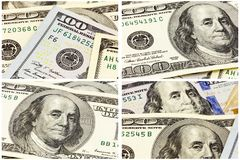 Μετρητά αμερικανικό κολάζ υποβάθρου 100 λογαριασμών δολαρίων Στοκ Εικόνα