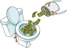 Μετρητά που πετιούνται κάτω από την τουαλέτα Στοκ Φωτογραφία