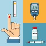 Μετρητής γλυκόζης εκμετάλλευσης χεριών εξετάσεων αίματος ζάχαρης ινσουλίνη Στοκ εικόνες με δικαίωμα ελεύθερης χρήσης