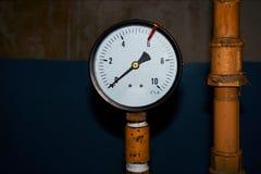 Μετρητής πίεσης στο αγωγό υγραερίου που παρουσιάζει πίεση 0 Στοκ εικόνα με δικαίωμα ελεύθερης χρήσης
