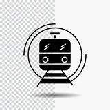 μετρό, τραίνο, έξυπνος, δημόσιος, εικονίδιο Glyph μεταφορών στο διαφανές υπόβαθρο r διανυσματική απεικόνιση