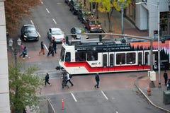 Μετρό Trimet μέσα στο κέντρο της πόλης στοκ φωτογραφία με δικαίωμα ελεύθερης χρήσης