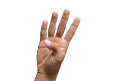 Μετρώντας αριθμός τέσσερα χεριών με το ψαλίδισμα της πορείας Στοκ Φωτογραφίες