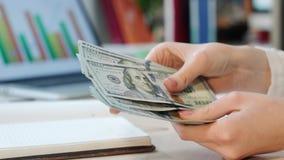Μετρώντας μετρητά χρημάτων χεριών γυναικών στην αρχή Πίστωση μετρητών στο νόμισμα δολαρίων απόθεμα βίντεο