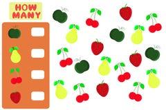 Μετρώντας παιχνίδι για τα προσχολικά παιδιά Στόχος μαθηματικών Πόσα αντικείμενα Μαθηματικά εκμάθησης, αριθμοί, λογική απεικόνιση αποθεμάτων