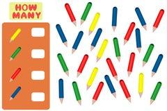 Μετρώντας παιχνίδι για τα προσχολικά παιδιά Στόχος μαθηματικών Πόσα αντικείμενα Μαθηματικά εκμάθησης, αριθμοί, λογική ελεύθερη απεικόνιση δικαιώματος
