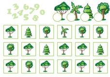 Μετρώντας παιχνίδι για τα παιδιά με τα δέντρα Στοκ Εικόνες