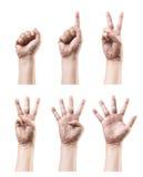 μετρώντας σημάδι χεριών Στοκ Εικόνες