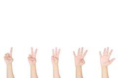 Μετρώντας σημάδι χεριών γυναικών που απομονώνεται στο άσπρο υπόβαθρο Στοκ Εικόνες
