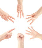 Μετρώντας χέρια ατόμων (0 έως 5) Στοκ Φωτογραφία