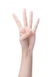 Μετρώντας χέρια γυναικών που παρουσιάζουν τέσσερα δάχτυλα, αριθμός 4 Στοκ εικόνες με δικαίωμα ελεύθερης χρήσης