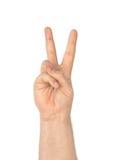 Μετρώντας χέρι (ή σημάδι νίκης) Στοκ Φωτογραφίες