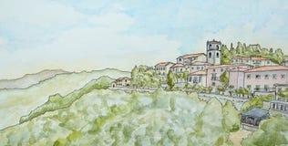 Μελάνι και Watercolour Montecatini Alto απεικόνιση αποθεμάτων