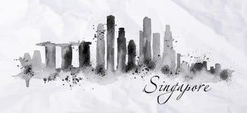 Μελάνι Σιγκαπούρη σκιαγραφιών Στοκ φωτογραφία με δικαίωμα ελεύθερης χρήσης