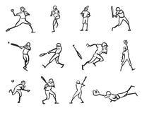 Μελέτες σκίτσων κινήσεων παιχτών του μπέιζμπολ Στοκ εικόνες με δικαίωμα ελεύθερης χρήσης