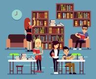 Μελέτη των σπουδαστών στο εσωτερικό βιβλιοθηκών με τη διανυσματική απεικόνιση βιβλίων και ραφιών ελεύθερη απεικόνιση δικαιώματος
