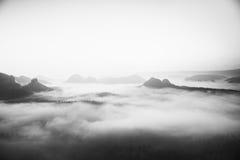 Μελαγχολικό πρωί της Misty Άποψη στο μακροχρόνιο βαθύ σύνολο κοιλάδων του φρέσκου τοπίου υδρονέφωσης άνοιξη μέσα στη χαραυγή μετά Στοκ Φωτογραφία