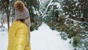 Με ακολουθήστε στο δασικό, ευτυχές κορίτσι χιονιού Νέα γυναίκα που οδηγεί έναν άνδρα προς τα εμπρός στην περιπέτεια απόθεμα βίντεο