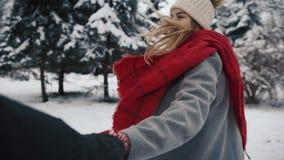 Με ακολουθήστε στο δασικό, ευτυχές κορίτσι χιονιού απόθεμα βίντεο