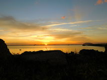 Μελβούρνη, Φλώριδα, ηλιοβασίλεμα Ιανουαρίου στοκ εικόνα