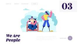 Με ειδικές ανάγκες άνδρας με το σπασμένο χέρι στην αναπηρική καρέκλα και γυναίκα με την πρόσθεση ποδιών που περπατούν υπαίθρια, κ απεικόνιση αποθεμάτων