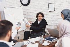 Με ειδικές ανάγκες αραβικό άτομο στην αναπηρική καρέκλα εργασία στην αρχή Το άτομο παρουσιάζει τα διαγράμματα στο whiteboard Στοκ Εικόνες