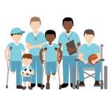 Με ειδικές ανάγκες παιδιά με τον αθλητισμό παιχνιδιού φίλων και δασκάλων απεικόνιση αποθεμάτων