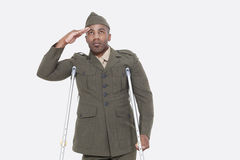 Με ειδικές ανάγκες στρατιωτικός αξιωματούχος αφροαμερικάνων στους ομοιόμορφους χαιρετισμούς πέρα από το γκρίζο υπόβαθρο Στοκ Φωτογραφία
