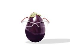 Μελιτζάνα μελιτζάνας που φορά τα γυαλιά Στοκ Φωτογραφία