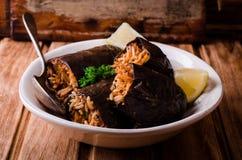 Μελιτζάνα που γεμίζεται με το κρέας και το ρύζι στο κύπελλο στο ξύλινο υπόβαθρο Εκλεκτική εστίαση Αραβική κουζίνα Στοκ Φωτογραφία