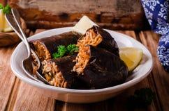 Μελιτζάνα που γεμίζεται με το κρέας και το ρύζι στο κύπελλο στο ξύλινο υπόβαθρο Εκλεκτική εστίαση Αραβική κουζίνα Στοκ εικόνες με δικαίωμα ελεύθερης χρήσης