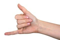 ΜΕ ΚΑΛΕΣΤΕ σημάδι χεριών Στοκ Φωτογραφίες