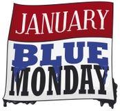 Με κινητά φύλλα ημερολόγιο με το στάξιμο του χρώματος για την μπλε Δευτέρα, διανυσματική απεικόνιση διανυσματική απεικόνιση