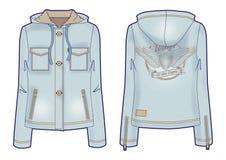 Με κουκούλα ελαφρύ σακάκι τζιν για τις γυναίκες με την τολμηρή κεντητική στην πλάτη απεικόνιση αποθεμάτων