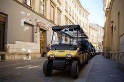 Με λάθη αυτοκίνητα κάρρων στη σειρά στην πόλη Στοκ Εικόνες