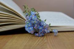 Με ξεχάστε nots στο ανοικτό βιβλίο Στοκ Εικόνες