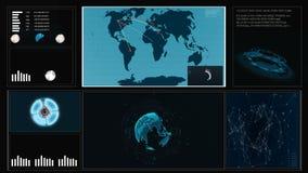 Μελλοντικό ενδιάμεσο με τον χρήστη HUD με έναν παγκόσμιο χάρτη, γραφικές παραστάσεις, ολόγραμμα αφής έννοιας εικονικό Διαλογική ο φιλμ μικρού μήκους