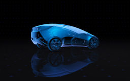 Μελλοντικό μπλε των ακτίνων X αυτοκίνητο έννοιας τρισδιάστατη απόδοση ελεύθερη απεικόνιση δικαιώματος