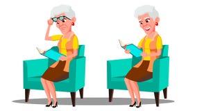 Με οπτική αναπηρία ηλικιωμένη γυναίκα που διαβάζει ένα διάνυσμα βιβλίων Απομονωμένη απεικόνιση κινούμενων σχεδίων απεικόνιση αποθεμάτων