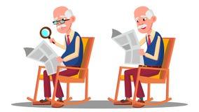 Με οπτική αναπηρία ηλικιωμένο άτομο που διαβάζει ένα βιβλίο μέσω μιας ενίσχυσης - διάνυσμα γυαλιού Απομονωμένη απεικόνιση κινούμε απεικόνιση αποθεμάτων